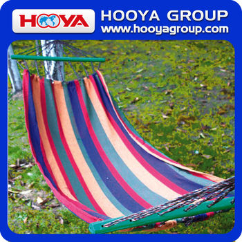 2*2m color bar hammock swing with sticks and rope for single