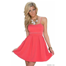 Womens Sexy Dresses Party Night Club Short Bule Mini Pleated Dress Summer Sleeveless Spaghetti Strap Dresses