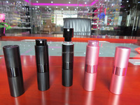 Fancy/Luxury brand-new style pocket spray perfume bottles (plastic+glass, cylindrical 15ml)