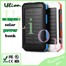 100% Waterproof Solar Power Bank 10000mah Dual USB LED light Compass SOS Travel Solar Battery Charger