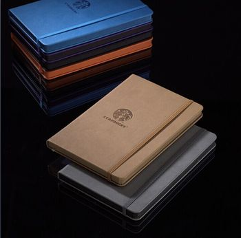 Rounded corner color edge PU leather notebooks with matching color elastic band closure