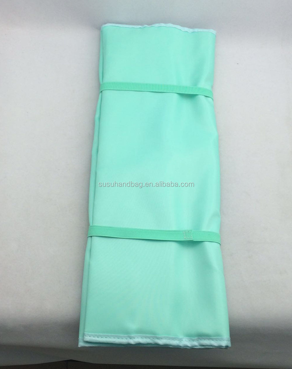 Blue Polyester Hanging Jewelry Bag Roll With Small Clear Zip Pockets