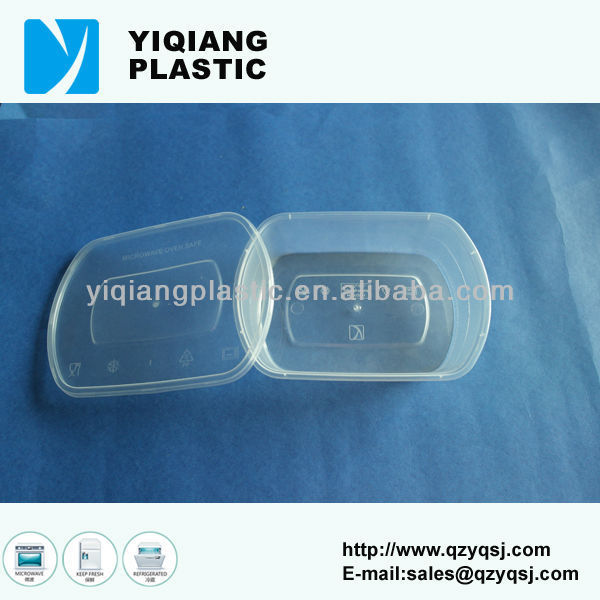 Hinged food clear plastic container