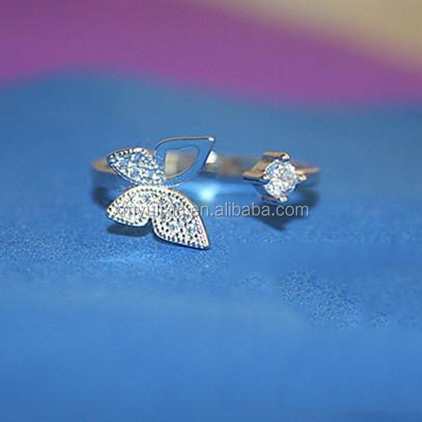 New 2016 fashion butterfly silver finger <strong>ring</strong>