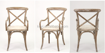 rustick oak Crossed back Arm chair with fabric seat