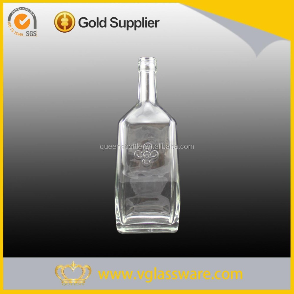 750ml sized square shape clear whiskey glass bottle