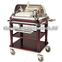 Restaurant Cooking Supplies Dinning Serving Cart Wooden Cooking Flambe Trolley Stainless Steel Food Heating Trolley CL15