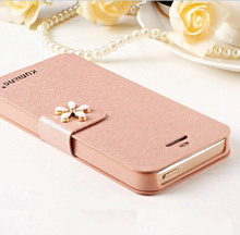 Luxury Rhinestone Silk Flip Leather Phone Protective Cover Case For iphone 5 5s Protective Shell For Apple 5 5s