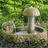 Beautiful outdoor decorative yard art small granite hand carved frog and mushroom stone water fountain
