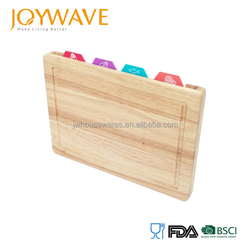 2017 new design bamboo cutting board with color coded cutting mats with drawer