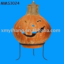 terracotta smiling pumpkin chimenea
