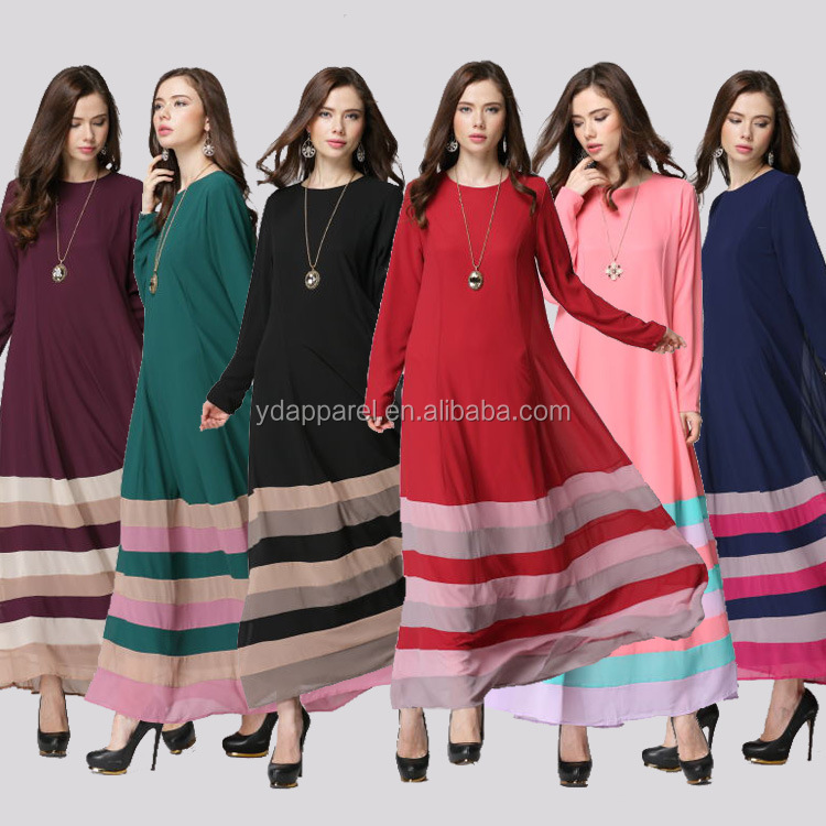 plus size muslim women clothes colorful stripes Malaysia long dress