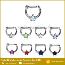 Surgical Steel Septum Clicker Clear Pink Star CZ Nose Ring Hoop 16 Gauge