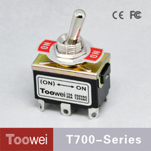T700 Series DPDT 12MM Diameter ON-ON 6Pins Momentary 2 Position Toggle Switch 15A 250VAC/20A 125VAC