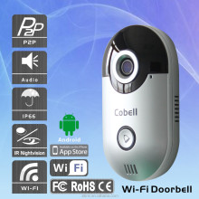 P2P two-way audio Wifi Doorbell, IP66 Waterproof Smart Home with CE, FCC, RoHS wireless video door phone.