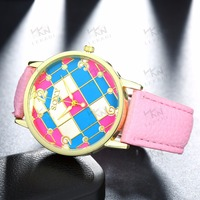 Hot sale leather strap new design fashion girls watch