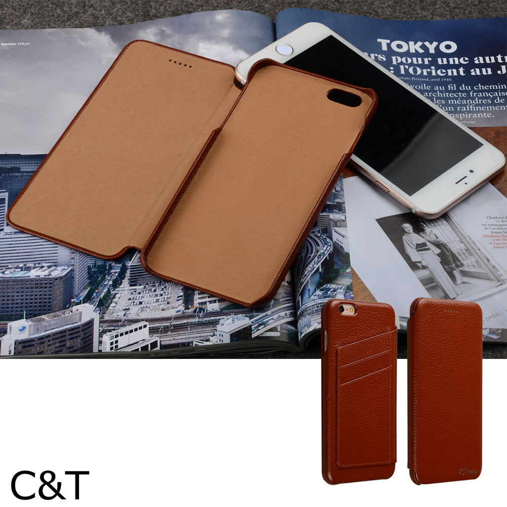 C&T 3 Card Slots Ultra Slim Leather Flip wallet Back Cover cases for iphone6