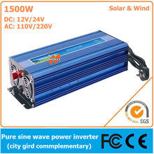 1500W DC12V/24V AC110V/220V, Off Grid Pure Sine Wave Solar or Wind Inverter, City Electricity Complementary Power Inverter