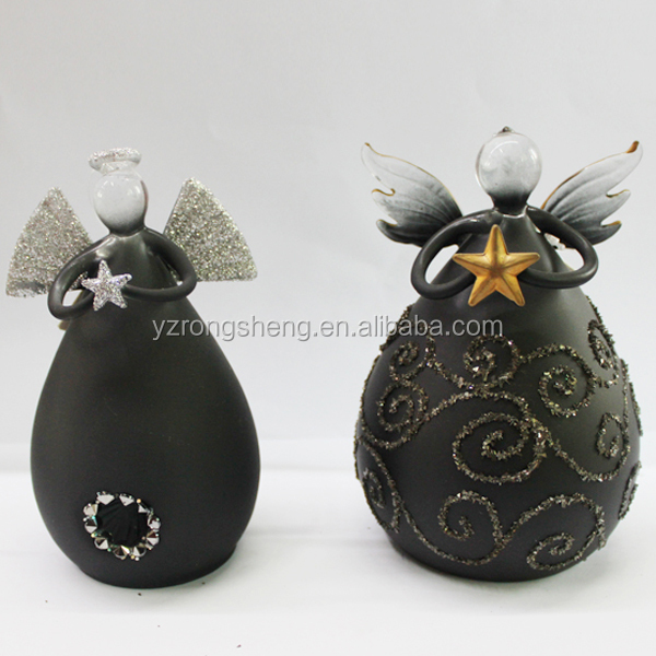 glass made christmas black angels