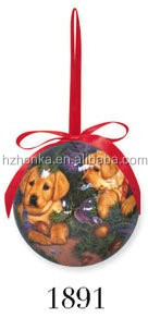 Polyfoam ball wrapped paper,dog design,christmas tree ornament