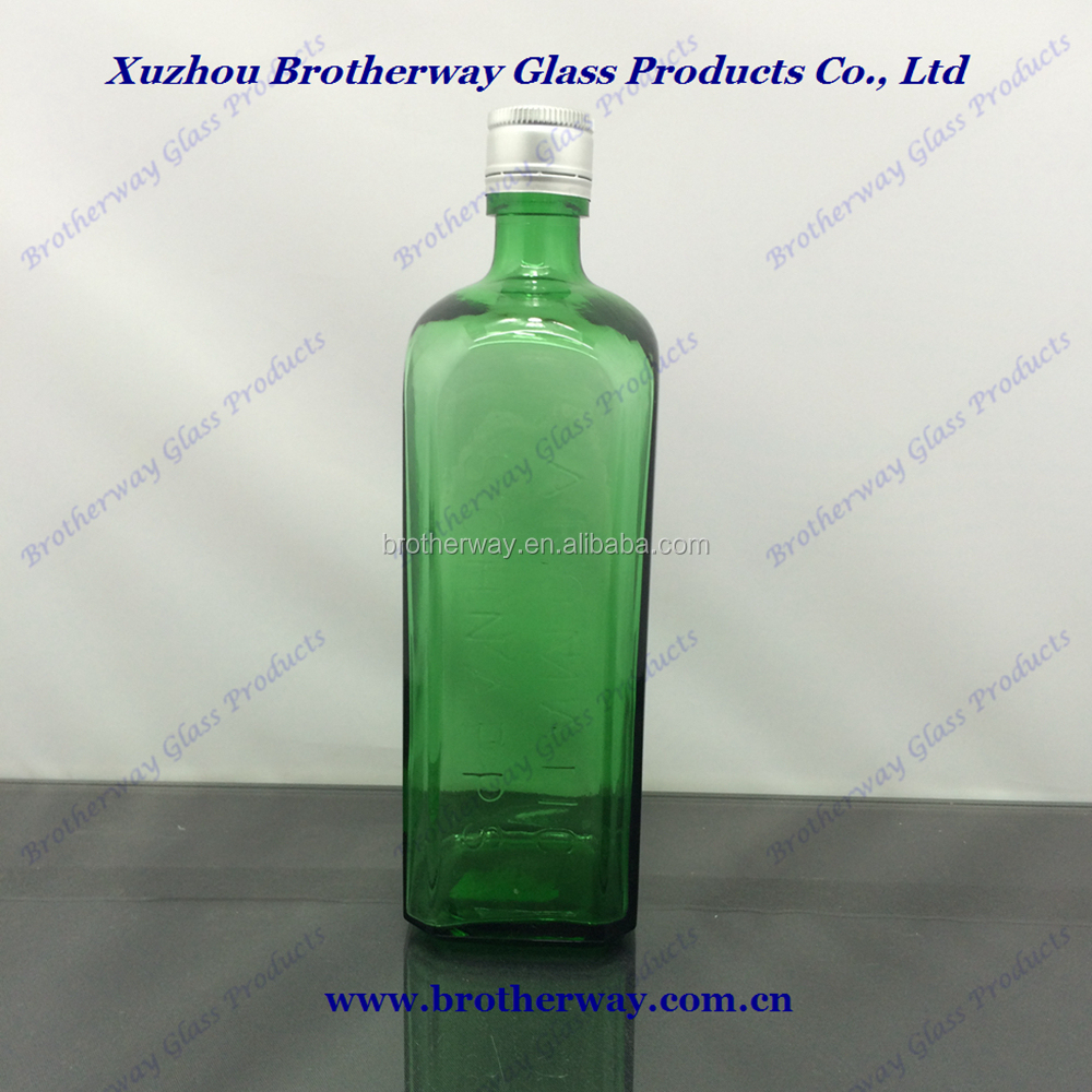 750ml 75cl antique green glass square liquor wine bottles