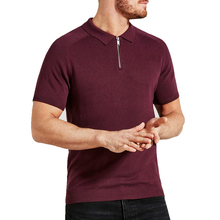 2017 New Zip Neck Burgundy Polo Shirts for Men 100%cotton T-shirt