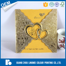 Hot Sale Personalised heart design custom logo paper card printing Laser Cut Wedding Invitation Card