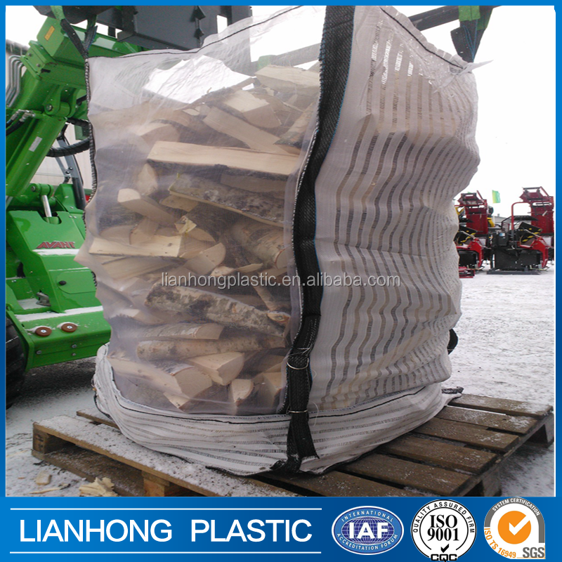 Breathable firewood bulk bag with mesh side, UV treated firewood bag 1 ton, logo printing big bag firewood