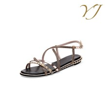 Italian fashion genuine leather women shoes summer casual branded ladies sandals