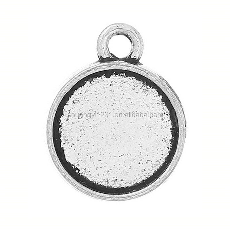 Zinc Alloy metal bezel tray charms pendant for resin cabochons silver metal tray fits charms