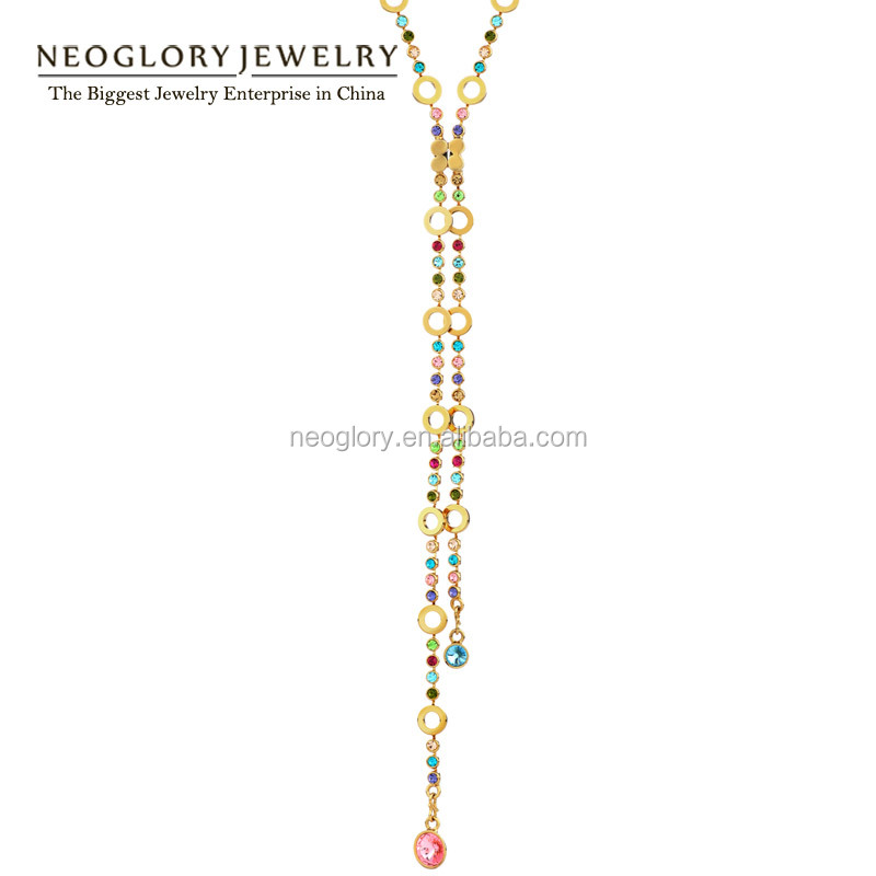 Best Selling 2 Types 14k Gold Plated Colorful Rhinestones Long Chain Necklace Made With Swarovski Elements