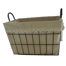 wire metal storage baskets with lining