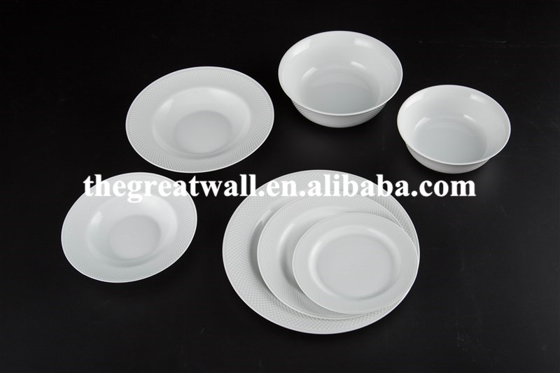 Classical white porcelain soup bowl dinner plate dessert plate for hotel and restaurant