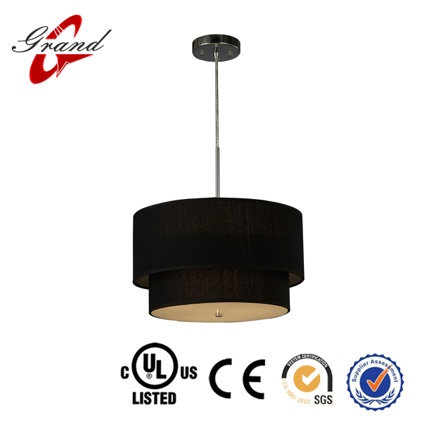 High quality Chrome/ black Fabric shade hanging &pendent light for home decoration