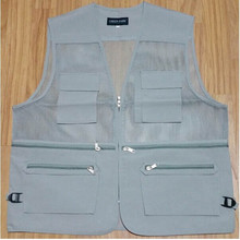 Made in china mens multi pockets Fishing Vest with mesh