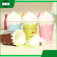 promotional gift colorful cartoon ice cream ceramic water tea milk coffee cup mug with handle and lid and straw