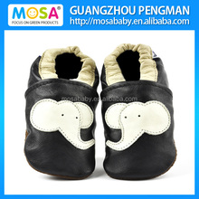 Newborn Boy Black Shoes With Beige Elephant Pattern ,Infant Boy Soft Sole Shoes