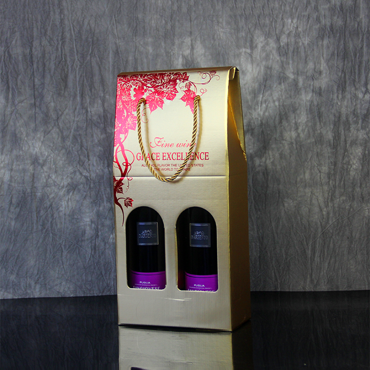 Custom Logo Kraft Paper Divided Window Paper Wine Box