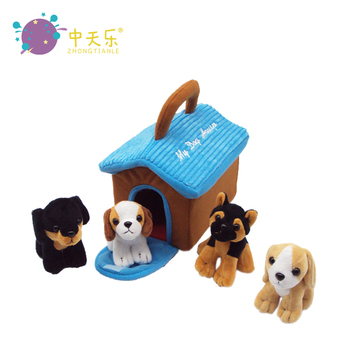 Plush Toy Play set Dog house with stuffed sound Puppies Animals for kids