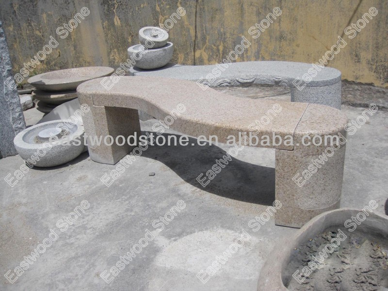 G682 yellow granite S shaped garden bench on sale