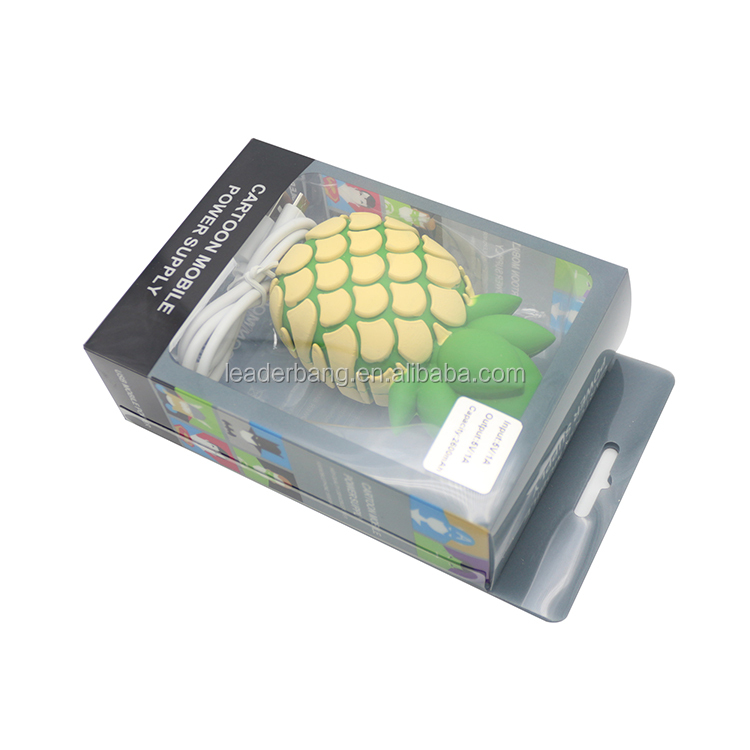 Cartoon design pineapple power bank 2600mah with OEM service