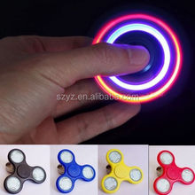 Hight Quality relieve stress ABS+stainless steel led light hand fidget spinner toys