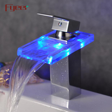 Fyeer Hydro Power RGB Led Basin Facuet Waterfall Basin Tap Mixer