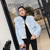 High quality blue color real fur fashion ladies genuine fox fur coat