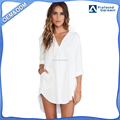 Loose White Long Sleeve Shirt High-Low Hem Women Shirt Dresses