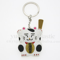 Cute cat couple pvc promotional key chain lovely couple key ring car decoration couple pendant