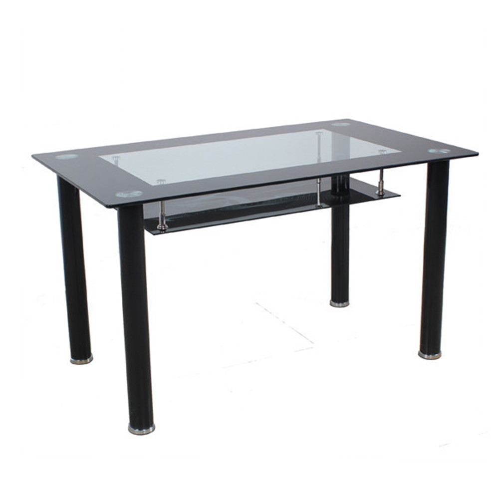 best price cheap modern double layer glass dining table