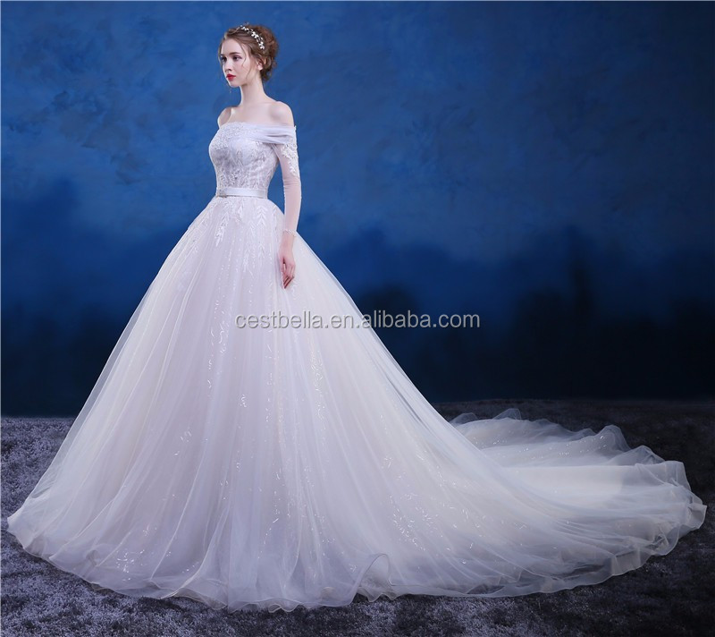 Custom Made White Crystal Beaded Ball Gown Wedding Gown With Long ...