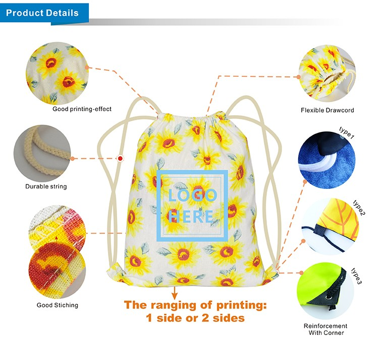 Sublimation Printing Cotton Canvas Gym Sack Drawstring Bag For Teens