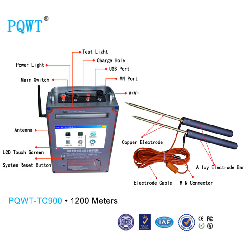 PQWT-TC900 The most High quality Underground Water Detector 1200m